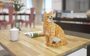 Des chats en blocs grandeur nature