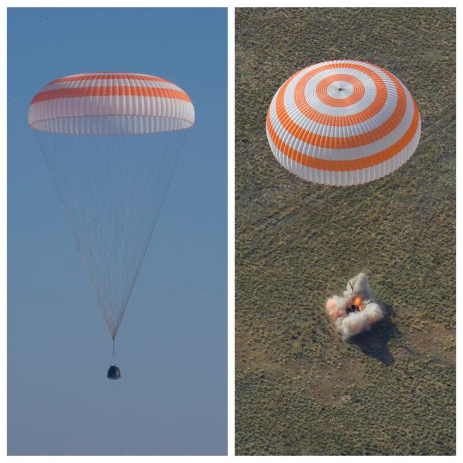 Image de gauche: la capsule Soyouz peu avant de toucher terre. Le parachute ralentit sa chute. À droite: juste avant le contact avec le sol, on actionne des rétrofusées: ces moteurs servent à ralentir encore davantage la capsule. (Photos: Gagarin Cosmonaut Training Center)
